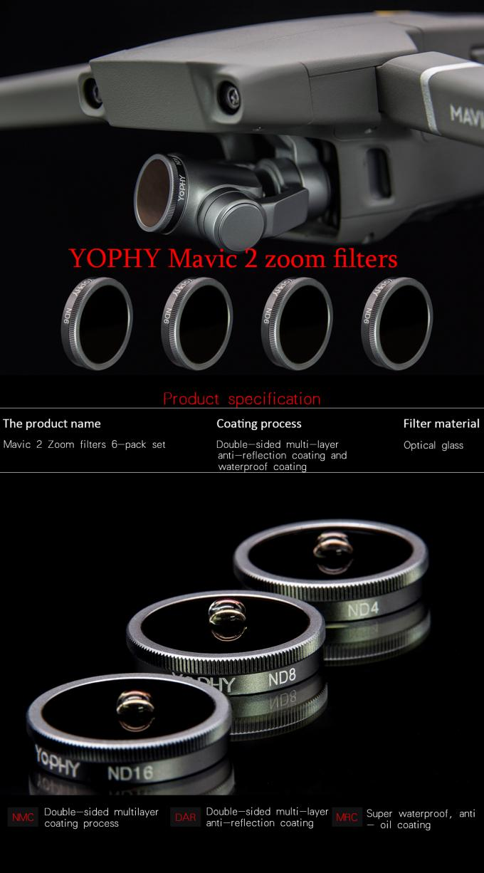 Aluminum Alloy Filter Kit Lens Filters for DJI Mavic 2 Zoom RC Drone Accessories