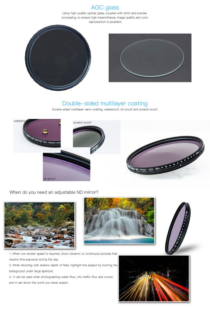 77mm ND2 To ND400 Wider Outer Optic Variable Neutral Density ND Filter With Matt Black Ultra Slim Frame