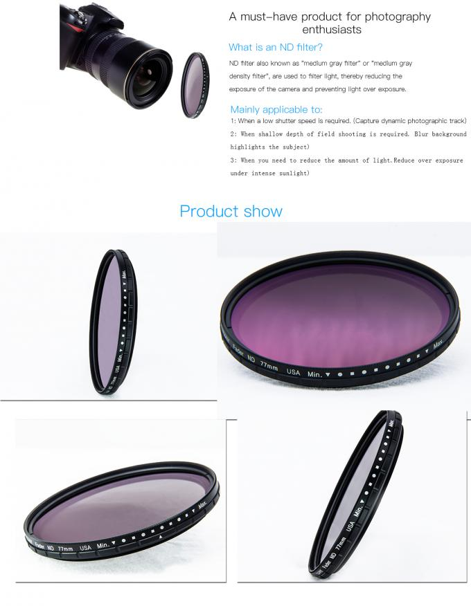 Ultra Slim Camera Lens 75 Degree Rotation Variable Nd Filter For Landscape Photography ND2 - ND32
