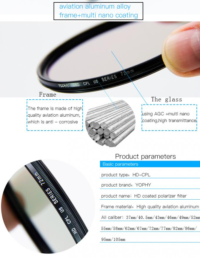 CPL Filter For DSLR Camera With Ultra Slim Black Aviation Aluminum Alloy Frame