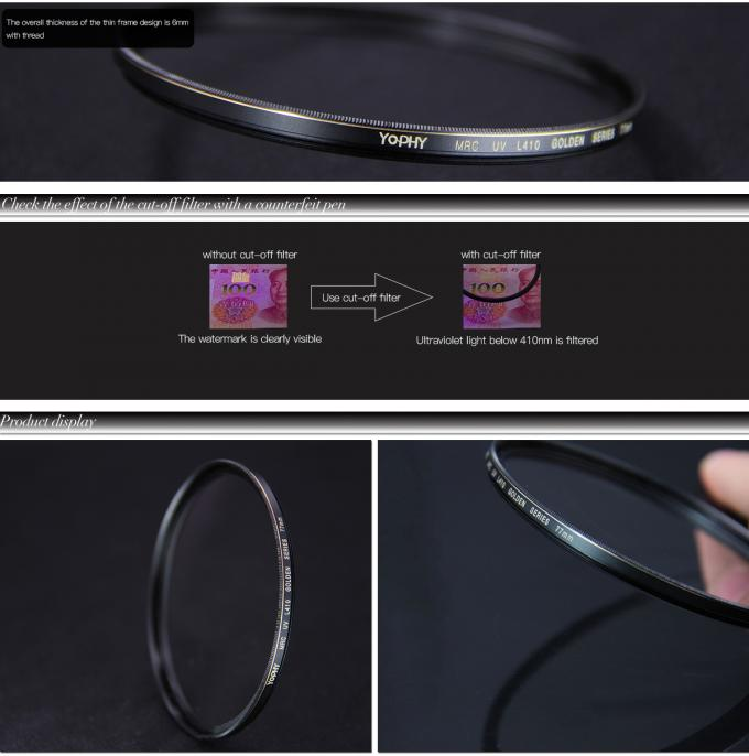 77mm HD Optical Glass Camera Lens Screw In UV Filter With Substantial Copper Frame