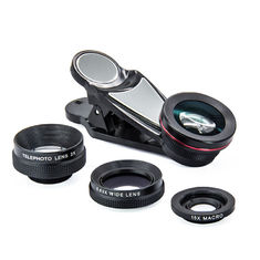 HD NO Dark Corner Clip On Camera Lens , 4 In 1 Phone Wide Angle Lens